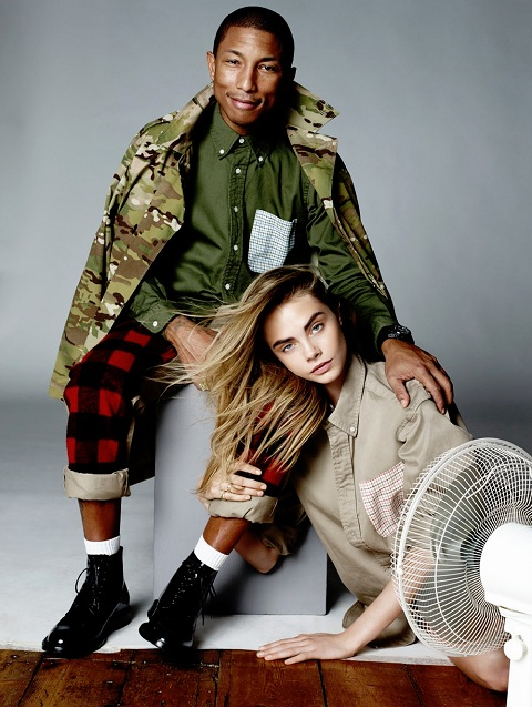 Cara Delevingne and Pharrell Williams