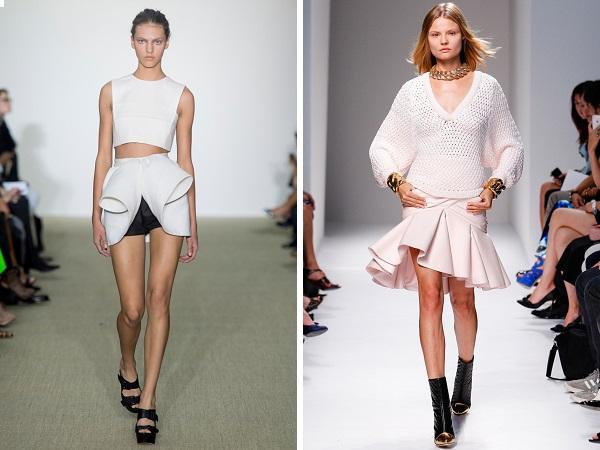 Многие фасоны современных юбок весны-лета 2014 имеют оригинальный асимметричный крой, дизайнеры с удовольствием