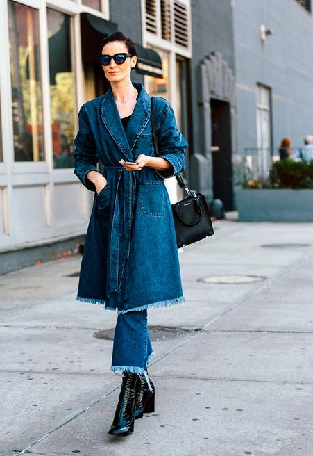 пальто джинсовое с чем носить фото