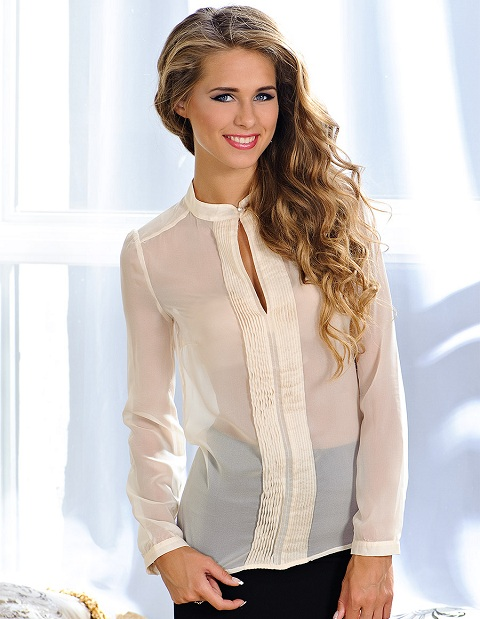 Блузка с воротником стойкой 2013