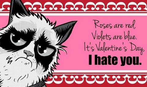 Угрюмые открытки ко Дню святого Валентина с изображением Grumpy Cat
